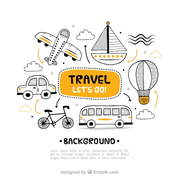 Travel background with different transports Free Vector