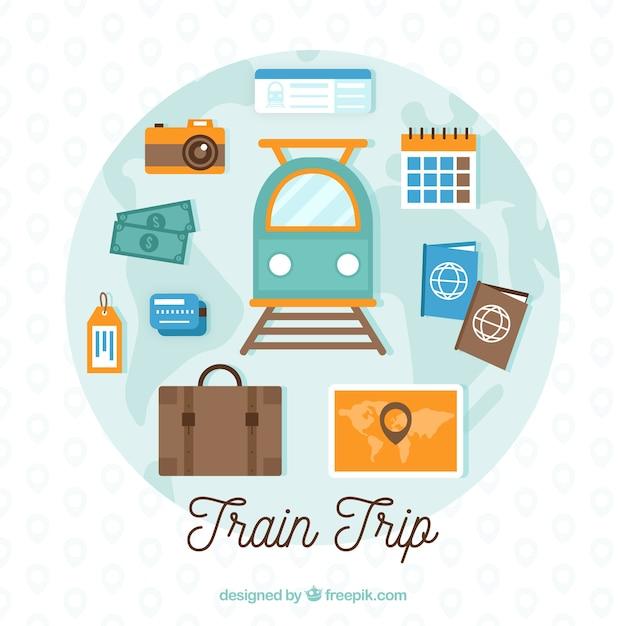 要素と列車で旅行の背景 無料ベクター