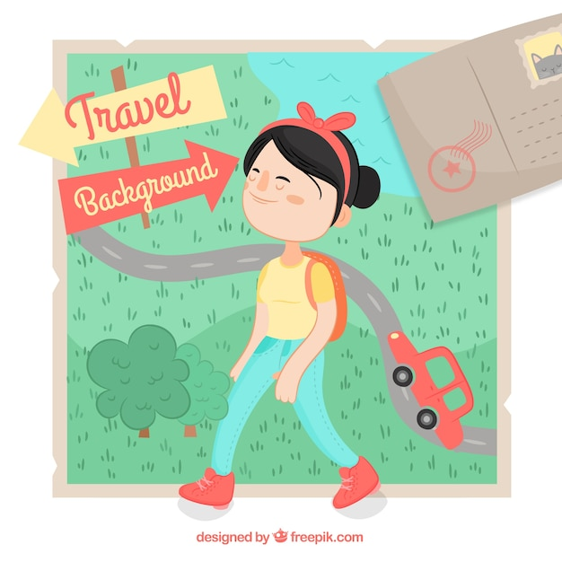 Travel background with happy woman