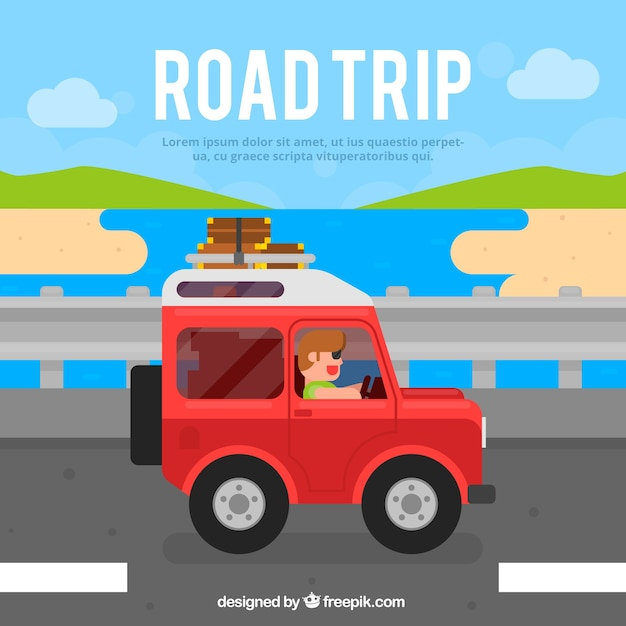 Travel background with jeep Free Vector