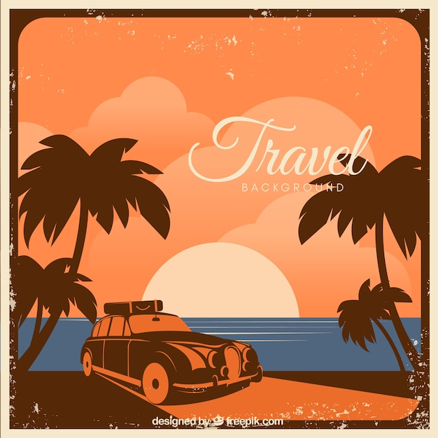 Travel background with landscape in vintage style Free Vector