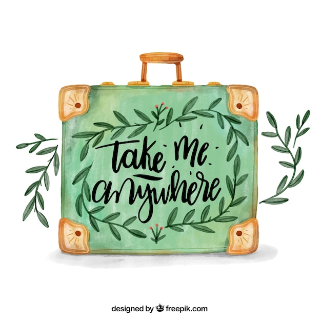 Travel background with lettering in watercolor style Free Vector