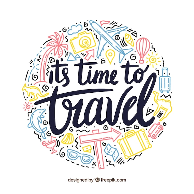 Travel background with lettering Free Vector