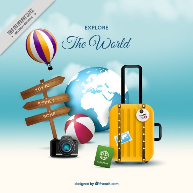 Travel background with luggage for summer holiday Free Vector