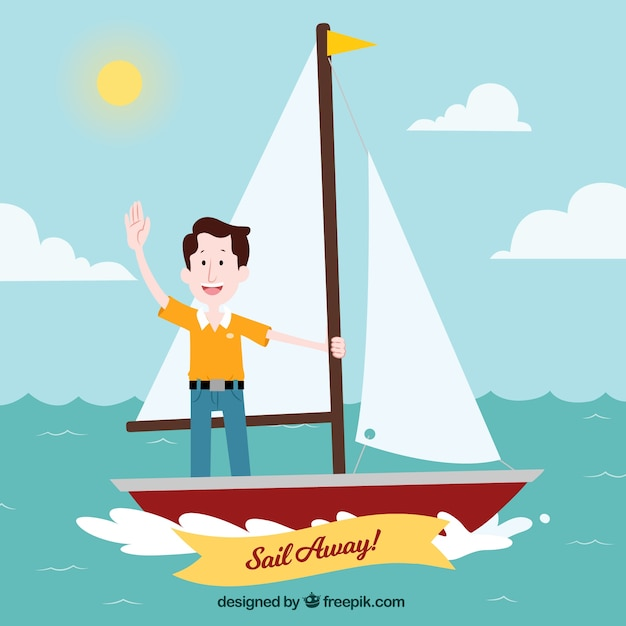 Travel background with man in sailing\ boat