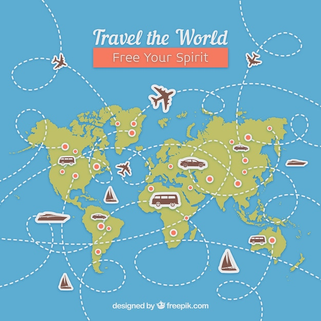 Travel background with map and landmarks Free Vector