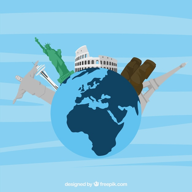 Travel background with monuments on\ earth