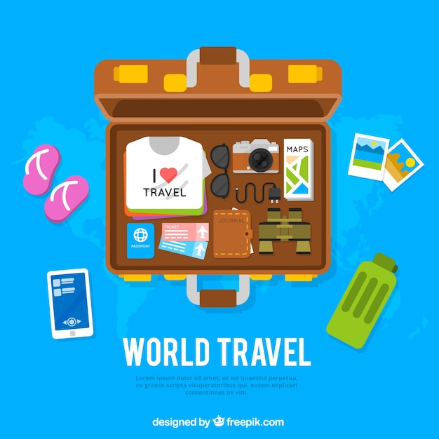 Travel background with open suitcase Free Vector