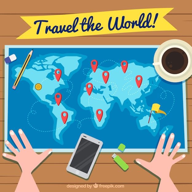 Travel background with person looking at world map vector free travel background with person looking at world map free vector gumiabroncs Images