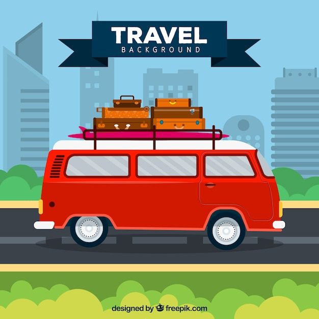 Travel background with retro van Free Vector