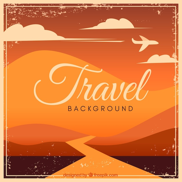 Travel background with sunset concept