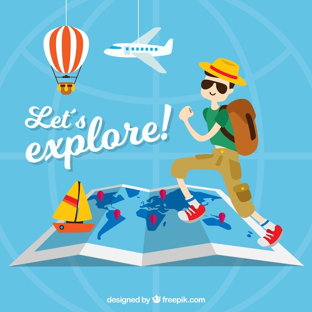 Travel background with tourist and decorative items Free Vector
