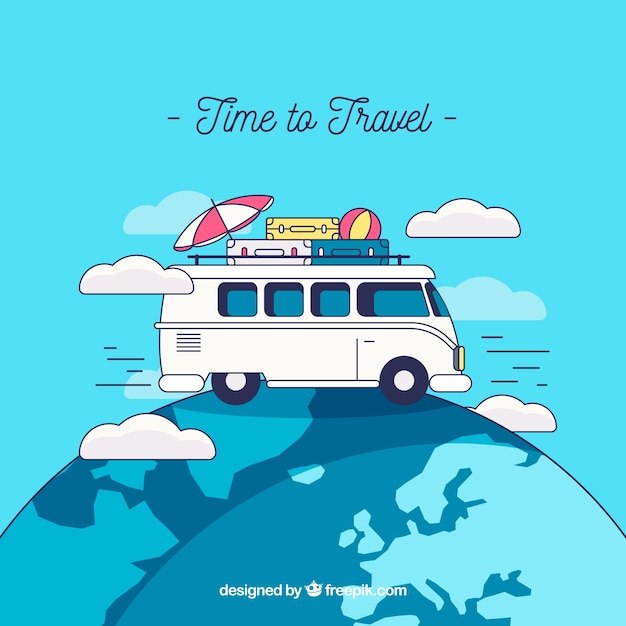 Travel background with van on earth Free Vector