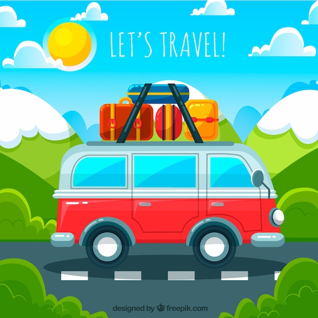 Travel background with van Free Vector
