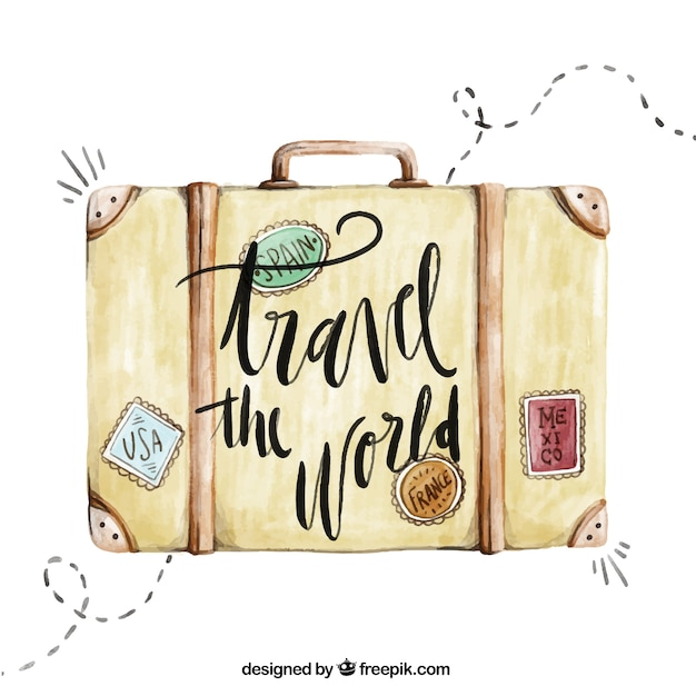 Travel background with watercolor suitcase Free Vector