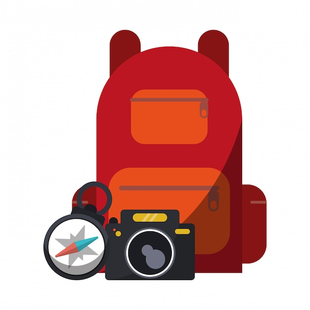 Travel backpack camera and compass Premium Vector