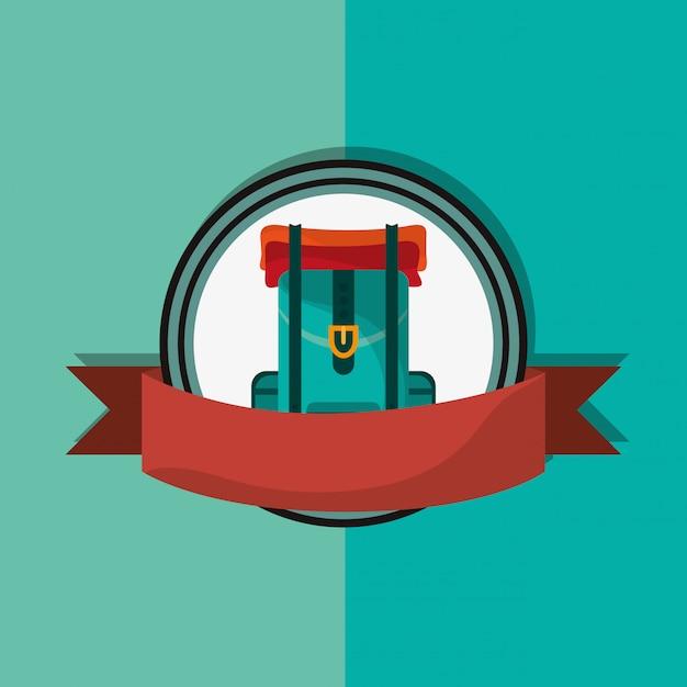 Travel backpack emblem image Premium Vector