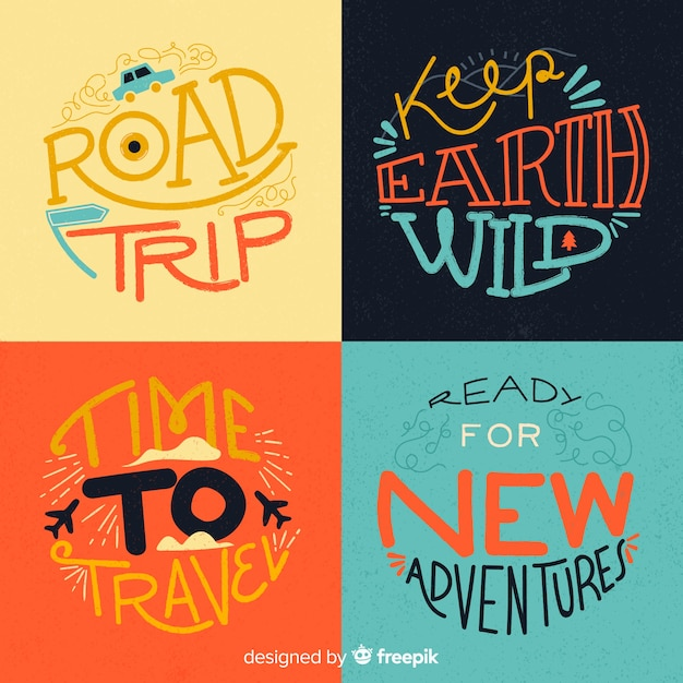 Travel badge collection calligraphic style Free Vector