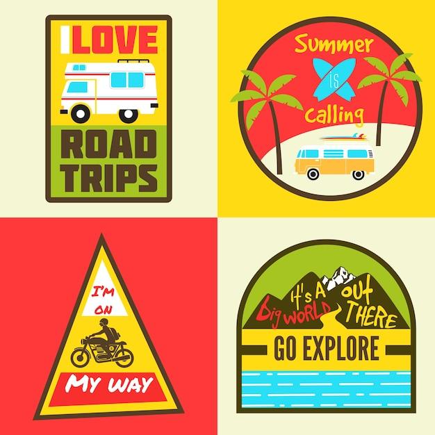 Travel badges Premium Vector