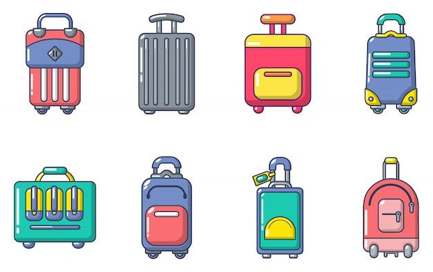Travel bag icon set. cartoon set of travel bag vector icons set isolated Premium Vector