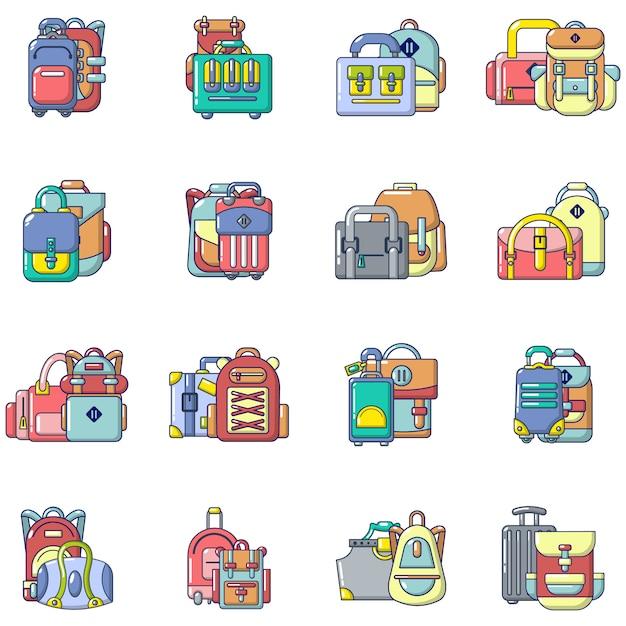 Travel bag icons set Premium Vector