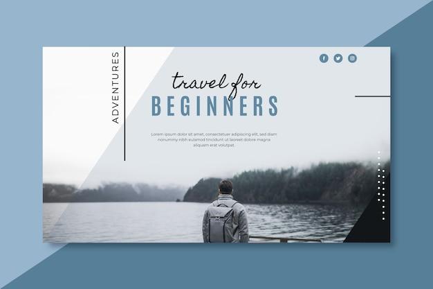 Travel banner blog template Free Vector