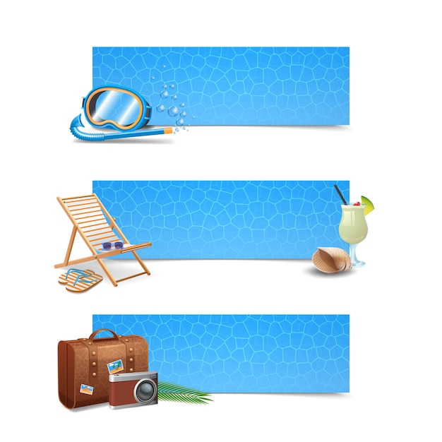 Travel banner horizontal set Free Vector