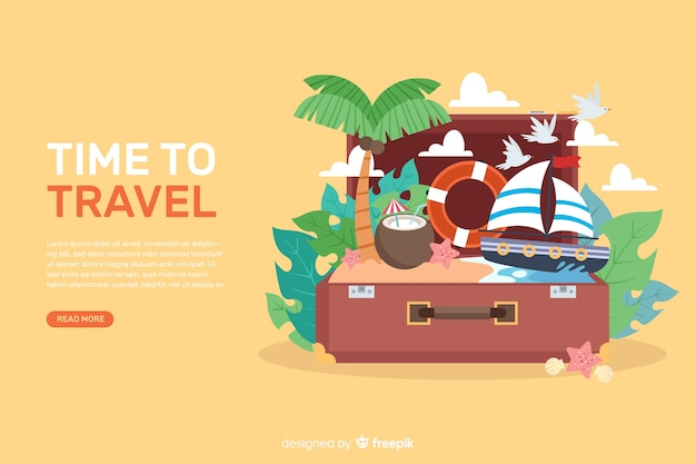 Travel banner pack Free Vector