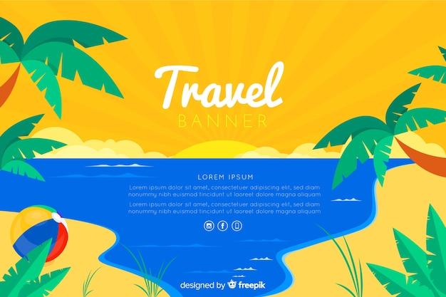 Travel banner template flat design Free Vector
