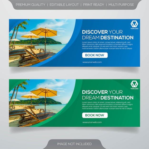 Travel banner template Premium Vector