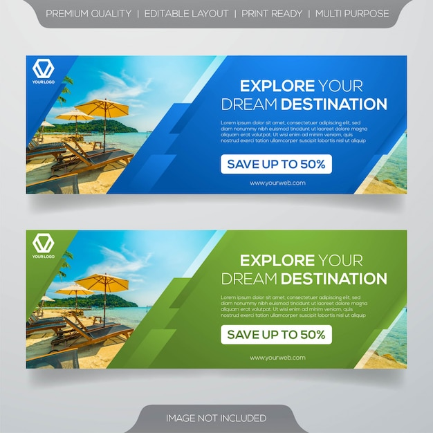 Travel banner template Premium Vector