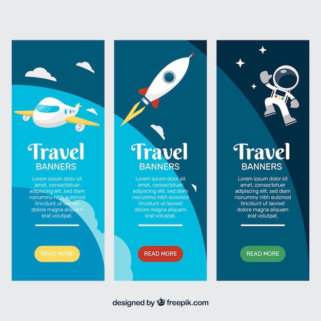 Travel banner with airplane, rocket and\ astronaut
