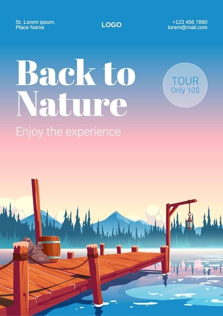 여행 배너. 수평선에 숲과 산 강이나 호수에 목재 부두 무료 벡터