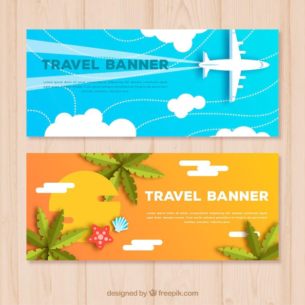 Travel banners in flat style Free Vector