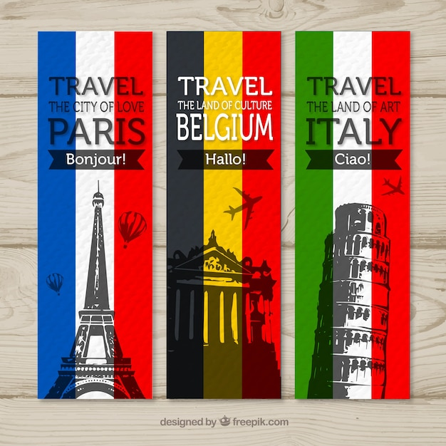 Travel banners to paris, belgium and italy Free Vector