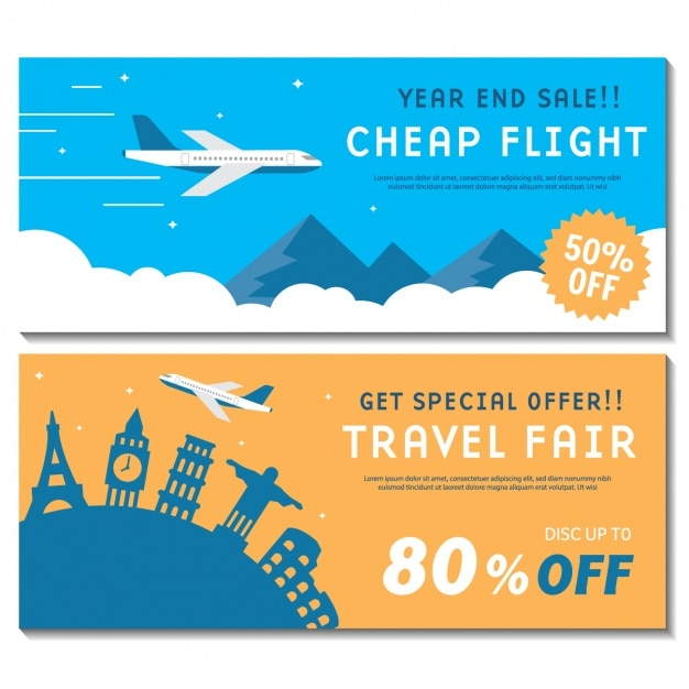 Travel Banners Set Vector Free Download