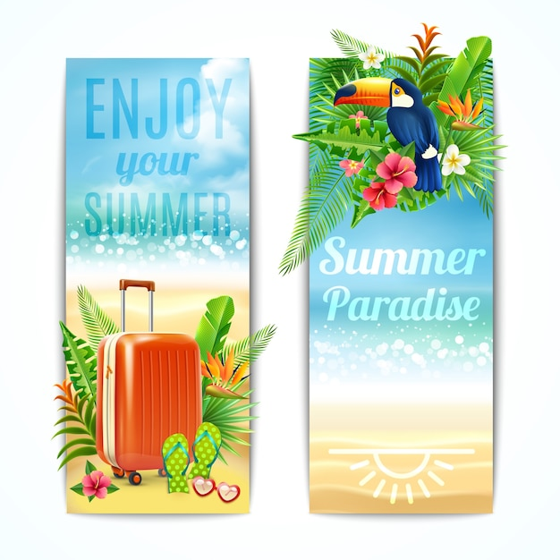 Travel Banners Set Free Vector