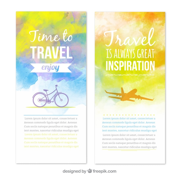 Travel banners in watercolor style Free Vector