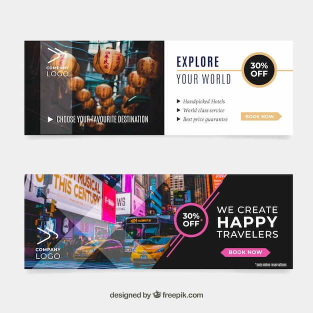 Travel banners with destination Free Vector