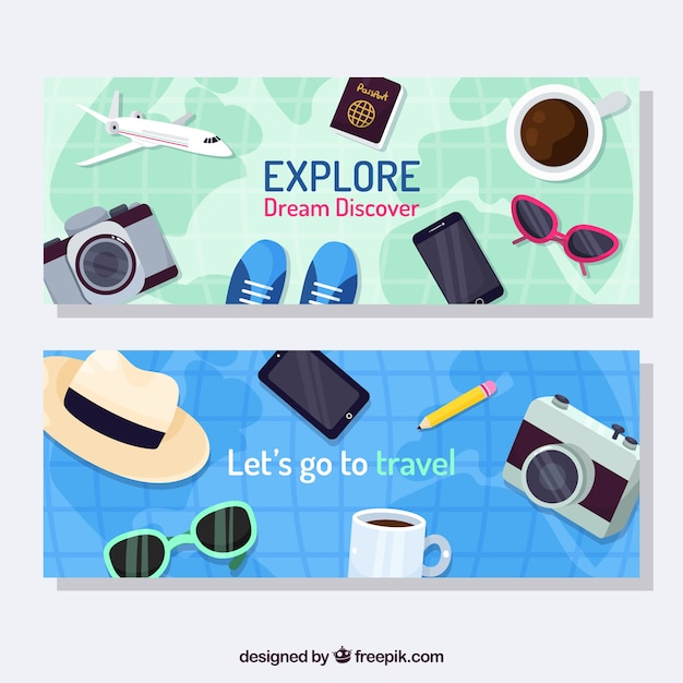 Travel banners with hand drawn elements Free Vector