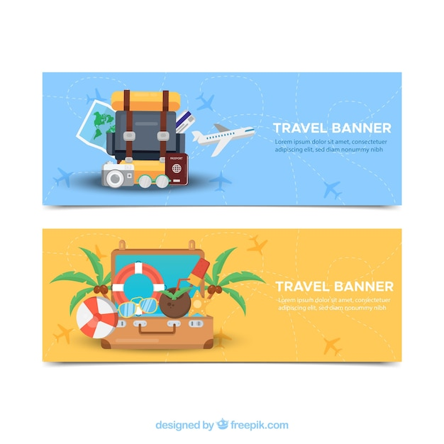 Travel banners with luggage Free Vector