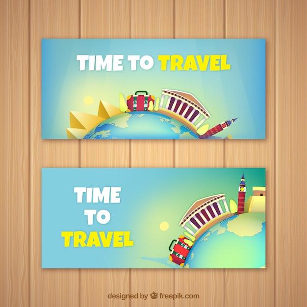 Туристические баннеры с памятниками Бесплатные векторы