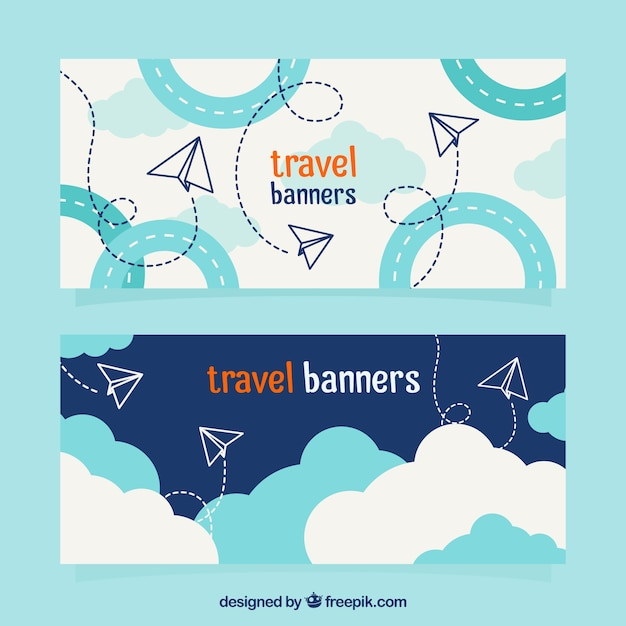 Travel banners with paper planes Premium Vector