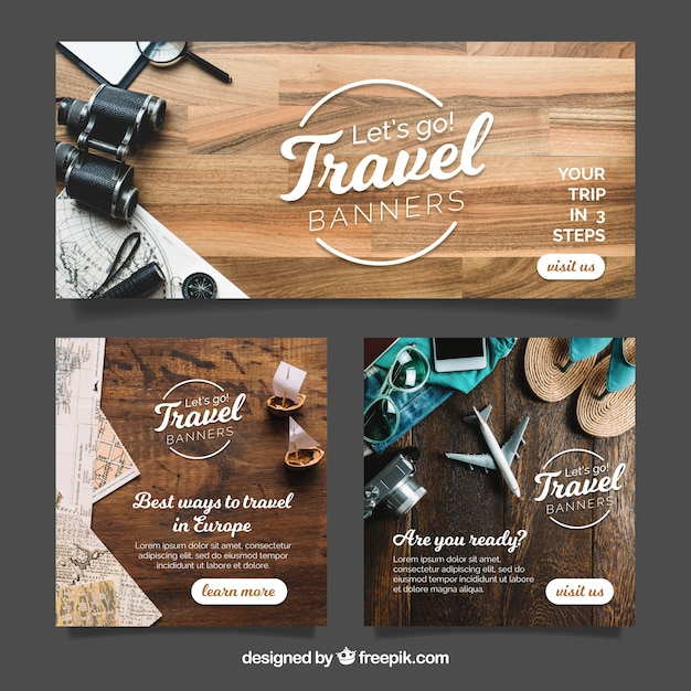 Travel banners with photography Free Vector
