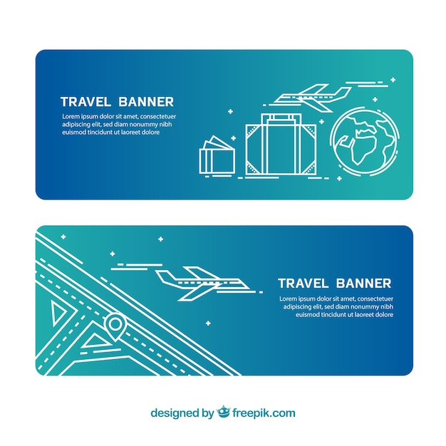 Travel banners with plane and hand drawn luggage