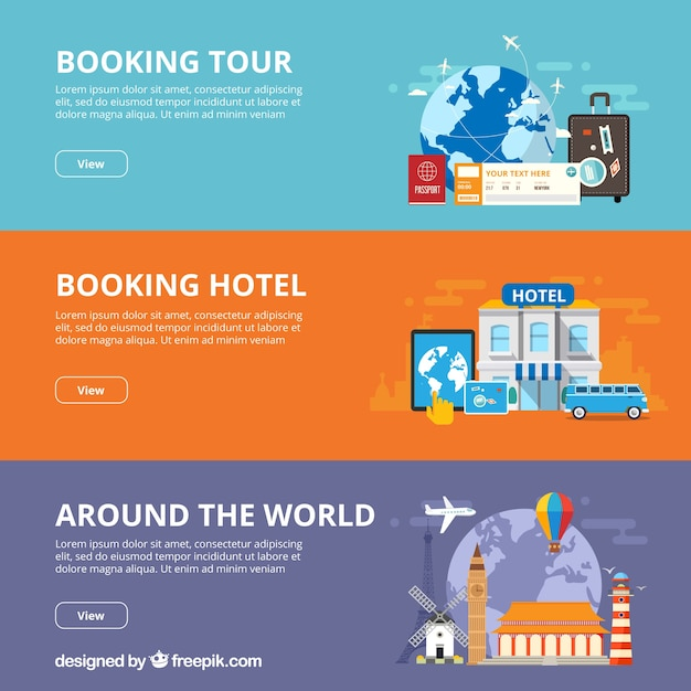 Travel banners Free Vector