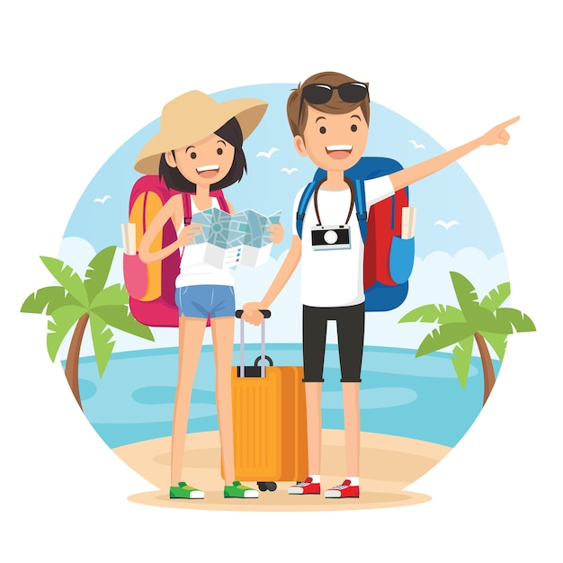 Travel on the beach Premium Vector