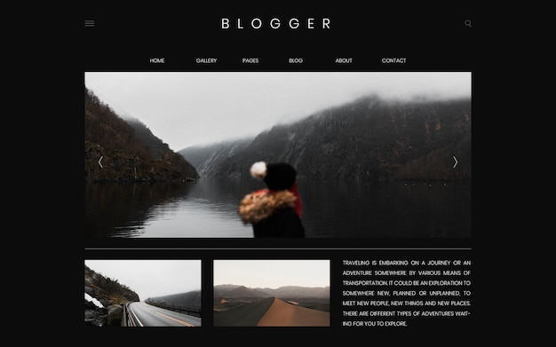 Travel blog first page template design vector Free Vector