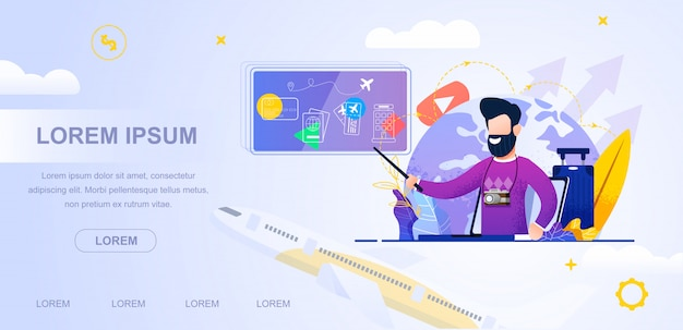 Travel blogging video online. Premium Vector