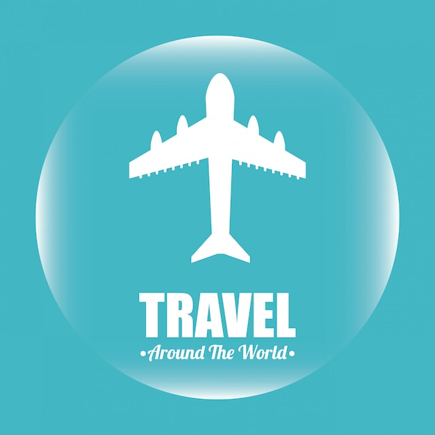 Travel over blue illustration Free Vector